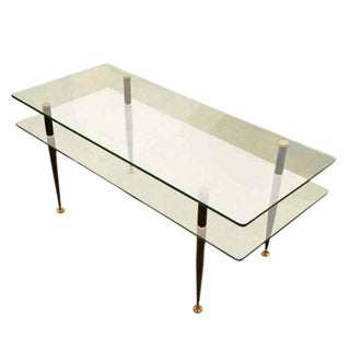 Fontana Arte Style Two Tiered Glass Cocktail Table For Sale