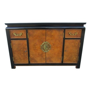 Vintage Century Furniture Chin-Hua Black Lacquer and Burl Wood Sideboard For Sale