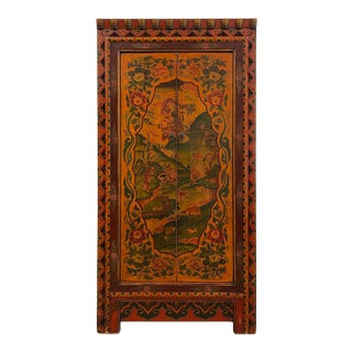 Antique Tibetan Painted Tall Cabinet/Armoire For Sale