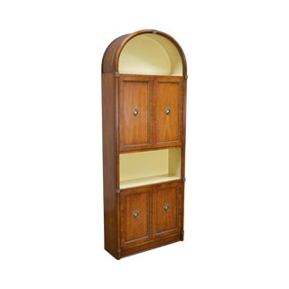 Henredon Vintage Arch Top Regency Style Walnut Bookcase Cabinet For Sale