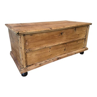 Antique Swedish Pine Lift Trunk For Sale