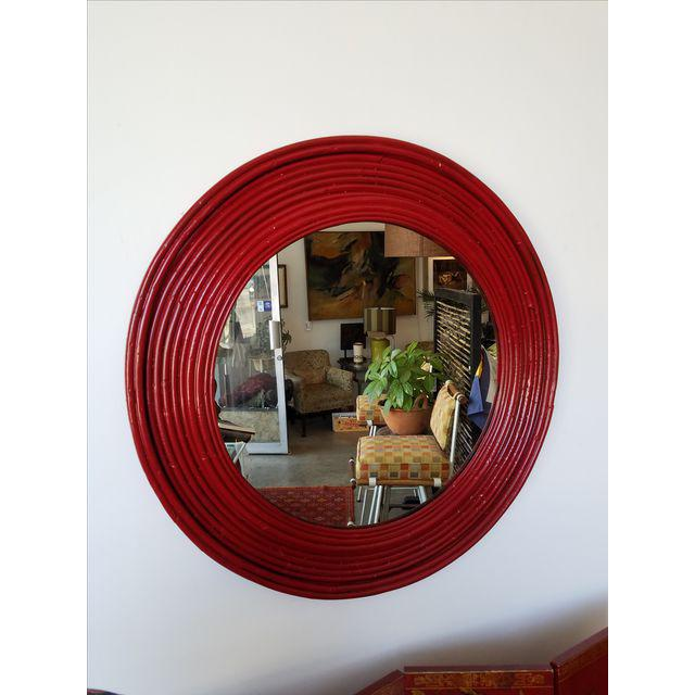 Round Chinoiserie Red Glossy Rattan Mirror - Image 2 of 3
