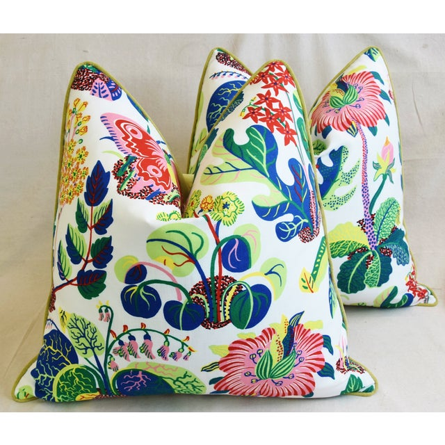 """Feather Schumacher Exotic Butterfly Floral Feather/Down Pillows 24"""" Square - Pair For Sale - Image 7 of 13"""
