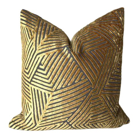 Golden Maze Velvet Pillow Cover For Sale