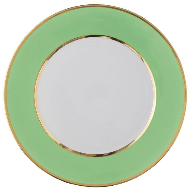 "Not Yet Made - Made To Order ""Schubert"" Charger in Light Gray & Narrow Gold Rim For Sale - Image 5 of 13"