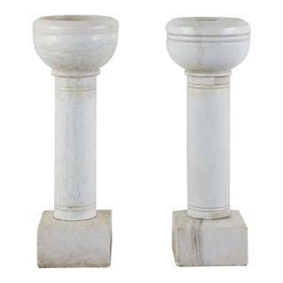 Pair of Italian Carrara Marble Church Font Urns For Sale