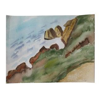 Vintage Original Coastal Watercolor For Sale