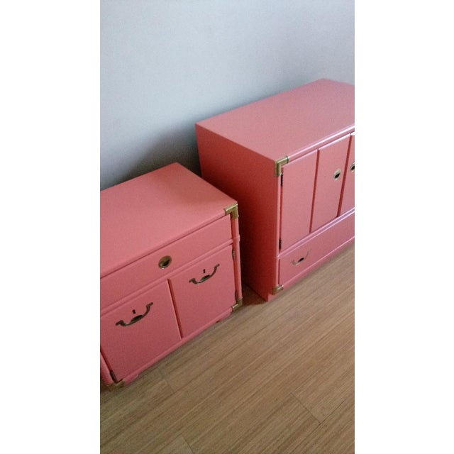 Drexel Accolade Campaign Coral Nightstands - a Pair For Sale - Image 9 of 10