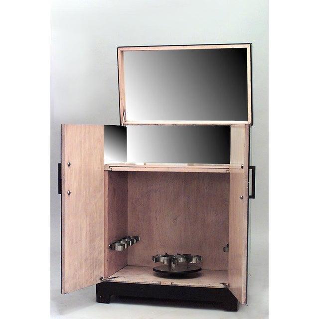 English Art Deco Mirrored 2 Door Flip Top Bar Cabinet For Sale - Image 5 of 6