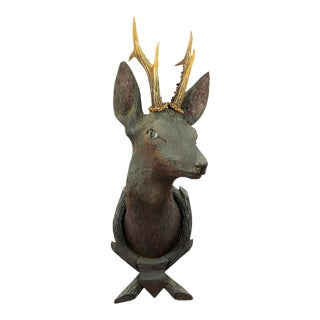 Antique Wooden Carved Deer Head With Original Antlers For Sale
