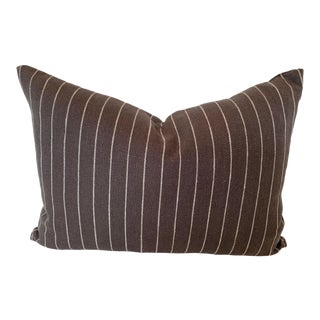 Belgium Linen Charcoal and White Pinstriped Pillow For Sale