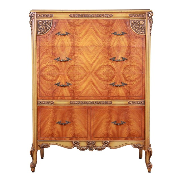 Romweber French Provincial Louis XV Burled Mahogany Highboy Dresser For Sale - Image 13 of 13