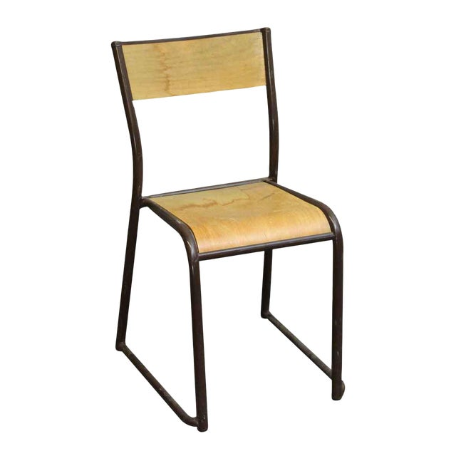 Imported Brown Steel & Wood School Chair For Sale
