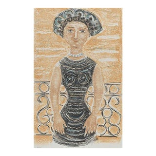"""Massimo Campigli """"Donna Al Balcone"""" Framed Print Signed, Numbered For Sale"""