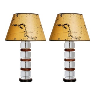 Lucite and Stitched Leather Lamps by Hermès, Paris - A Pair For Sale