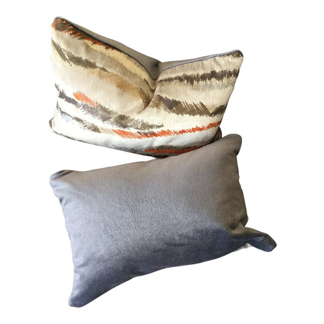 Donghia Rubelli Silver Copper Tiger Striped Wave Velvet Lumbar Pillows - A Pair For Sale