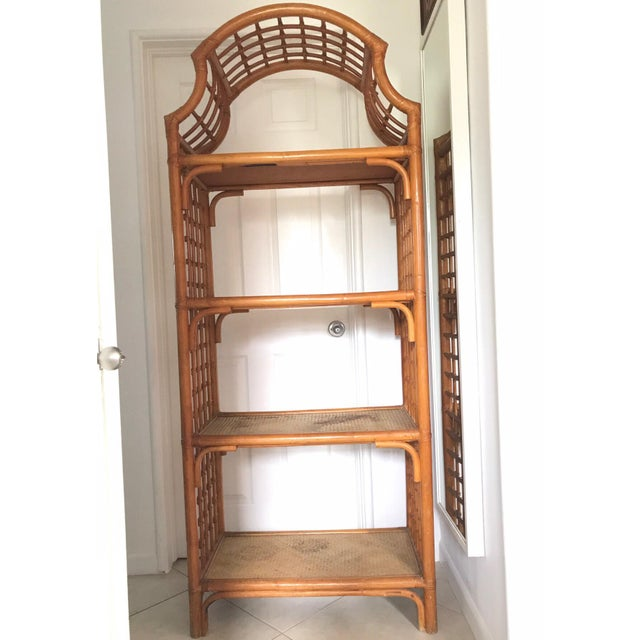Vintage c1960's, beautiful Rattan & Bamboo Pagoda bookshelves etagere with woven wicker shelves. Great Hollywood Regency,...