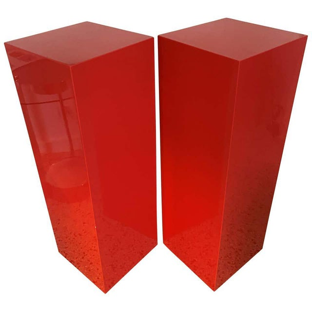 Vintage Minimalist Red Pedestals - a Pair For Sale - Image 13 of 13