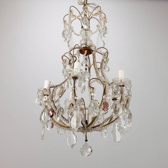French Five Light Brass Beaded Cage Shape Chandelier - Image 3 of 6