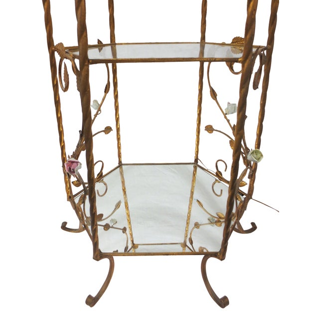 Italian Rococo Brass & Floral Étagère - Image 6 of 9