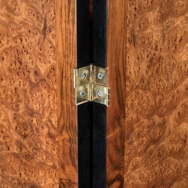 Elm Art Deco Style Four Panel Screen in Burled Carpathian Elm with Geometric Shapes For Sale - Image 7 of 9