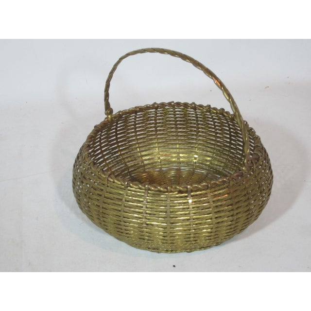 Boho Chic Vintage Round Woven Brass Basket For Sale - Image 3 of 7