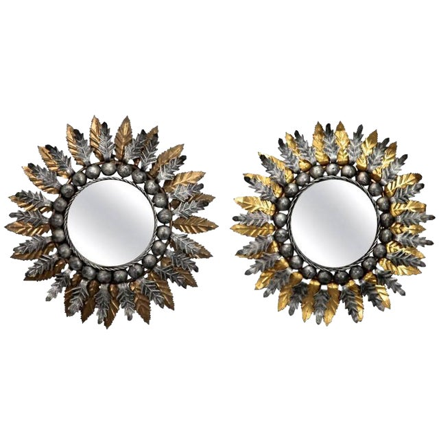 Mid Century Spanish Gilt and Silver Metal Sunburst Mirrors - A Pair - Image 1 of 9