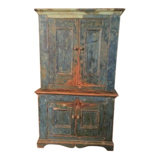 Mid 19th Century Antique Blue Step Back Cupboard