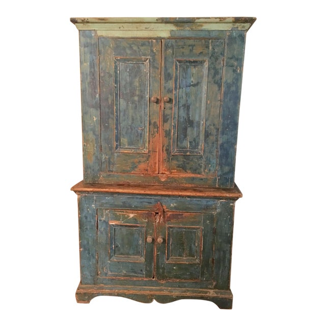 Mid 19th Century Antique Blue Step Back Cupboard For Sale