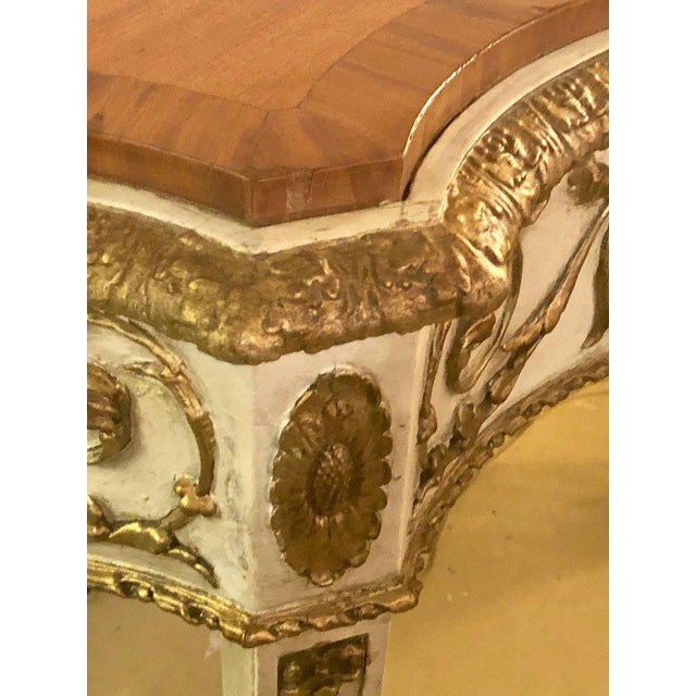 Painted Console or Demilune Table Fine Wood Top Louis XV Style by Maison Jansen For Sale In New York - Image 6 of 13