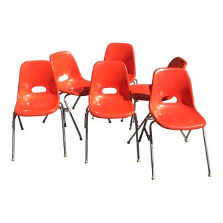 1960s Vintage Krueger Metal Company Orange Fiberglass Shell Chairs- Set of 6 For Sale