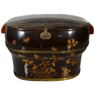 Hand-Painted and Lacquered Wedding Box With Flowers From, China, 19th Century For Sale