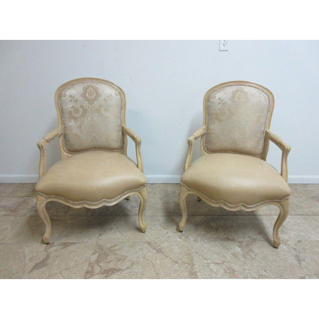 Vintage Louis XV Custom Leather Italian Carved Fireside Lounge Club Chairs - a Pair For Sale - Image 10 of 10