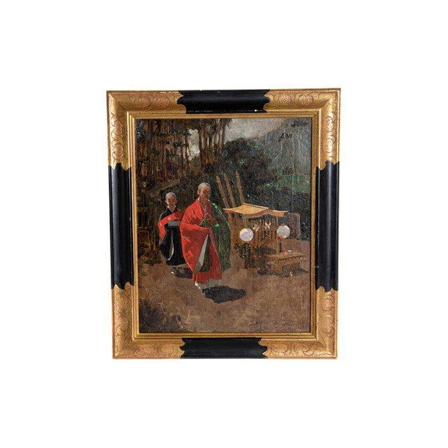 Late 19th Century Francis Neydhart Oil on Canvas Japanese Monks in a Landscape For Sale - Image 13 of 13