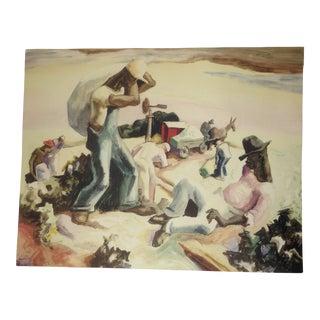 "Vintage C.1930s-50s American Regional Artist (Thomas Hart Benton), Signed ""Cotton Pickers,"" Wpo Watercolor Print For Sale"