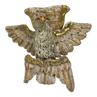 19th Century Italian Carved Wood Gilded Eagle Wall Hanging For Sale