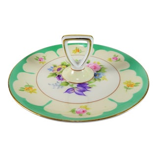 Vintage Cottage Center Handle Floral Design Ceramic Plate For Sale
