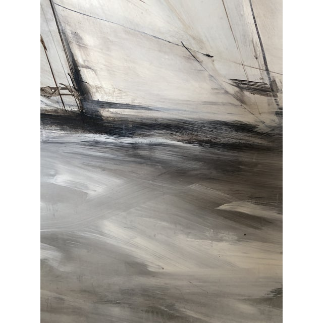Modern Striking Sailboat Painting in Muted Greys and White For Sale - Image 3 of 7