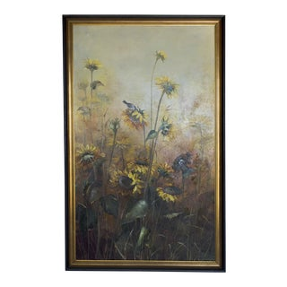 Large Vintage Signed Sunflowers & Birds Oil Painting For Sale