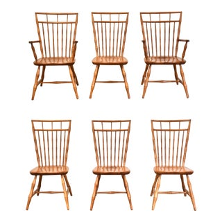 Nichols and Stone Faux Bamboo Dining Chairs - Set of 6 For Sale