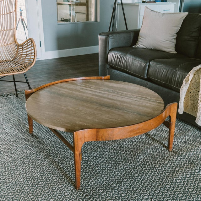 Contemporary Bertha Schaefer Travertine & Walnut Coffee Table For Sale - Image 3 of 12