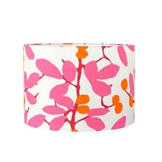 Pink and Orange Blossom Drum Lamp Shade - Modern Bohemian Chic For Sale