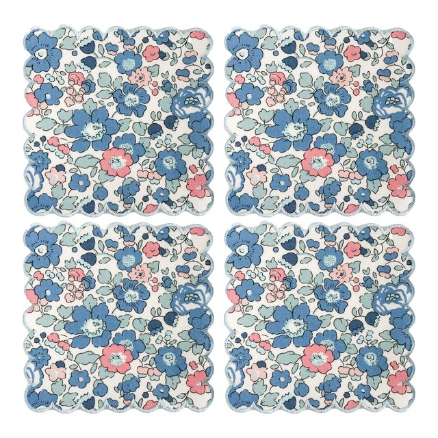 Liberty of London Scalloped Cocktail Napkins Betsy Blue with Baby Blue Trim - Set of 4 For Sale