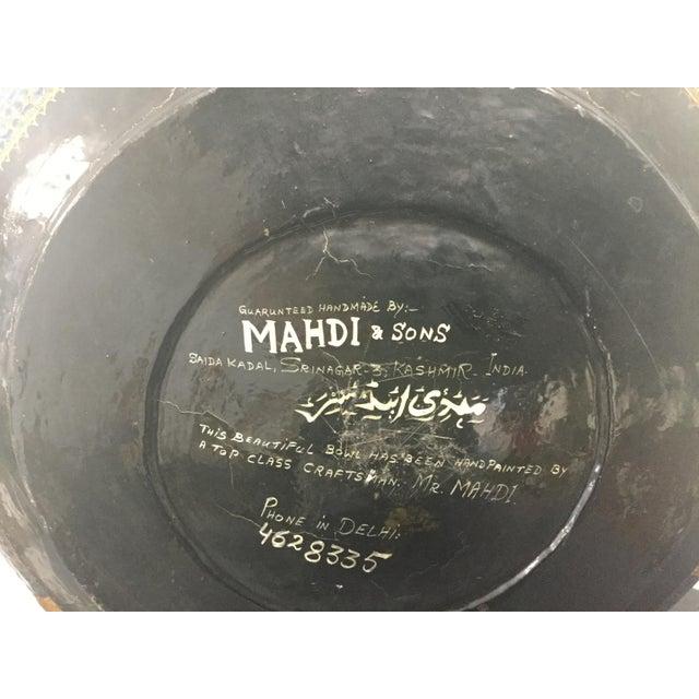Metal Antique Indian Kashmir Lacquer Paper Mache Bowl For Sale - Image 7 of 12