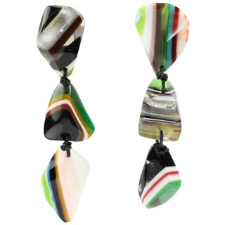 Sobral Oversized Dangling Clip Earrings Multicolor Striped Resin Pebbles For Sale