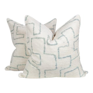 Ivory Chenille Sea Foam Tribal Geometric Pillows, a Pair For Sale