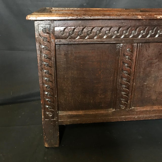 Antique 18th Century Paneled and Carved Scottish Coffer Chest For Sale - Image 11 of 13