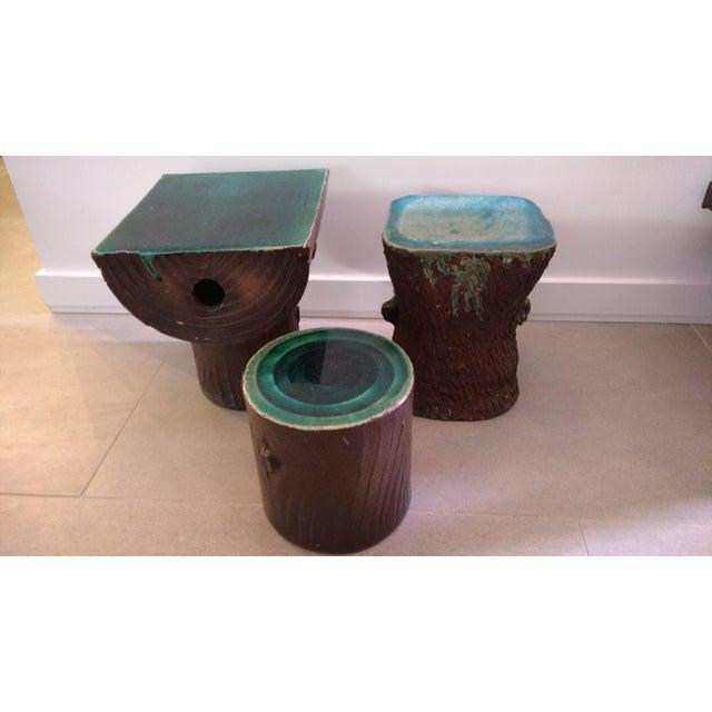 1960s Vintage Art Nouveau Ceramic Tree Trunk End Tables- Set of 3 For Sale - Image 9 of 12