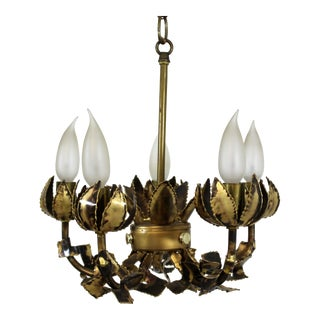 1960s Mid-Century Modern Tom Greene Brutalist Brass Chandelier For Sale