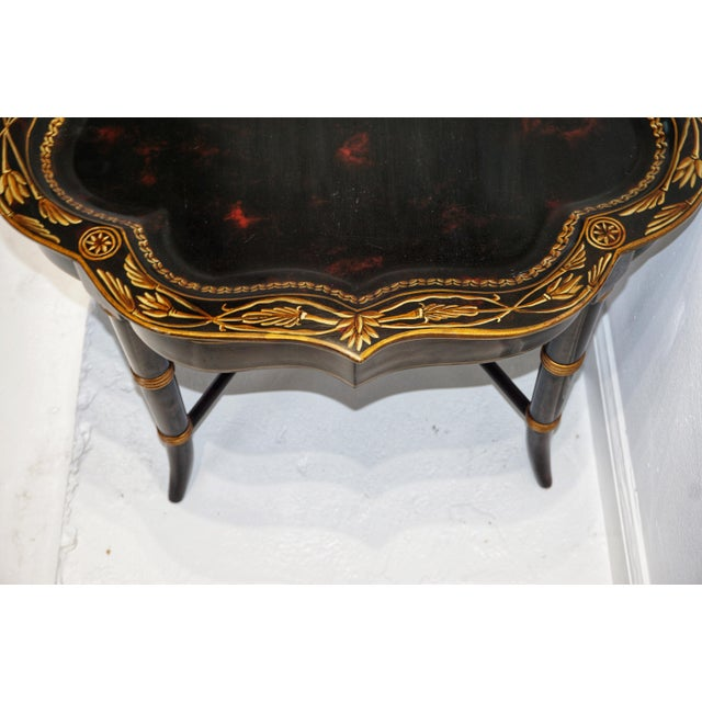 Vintage Mid-Century Regency Style Papier Mache Tray Table For Sale In Atlanta - Image 6 of 11